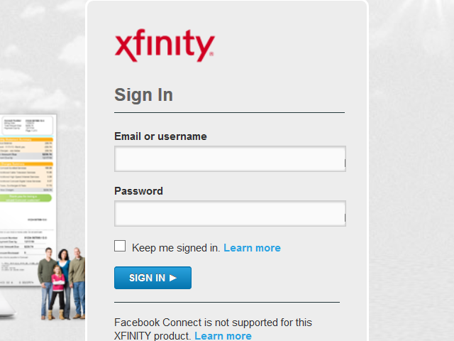 Xfinity sign in page.