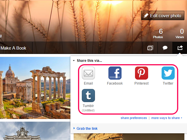 Social network and email icons in the Share This Via pop-up menu.