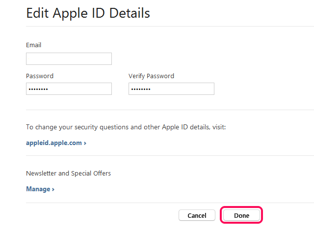 Edit your password or email address.