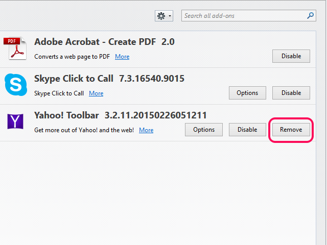 Yahoo Toolbar entry in the Add-ons screen, with Remove button highlighted.