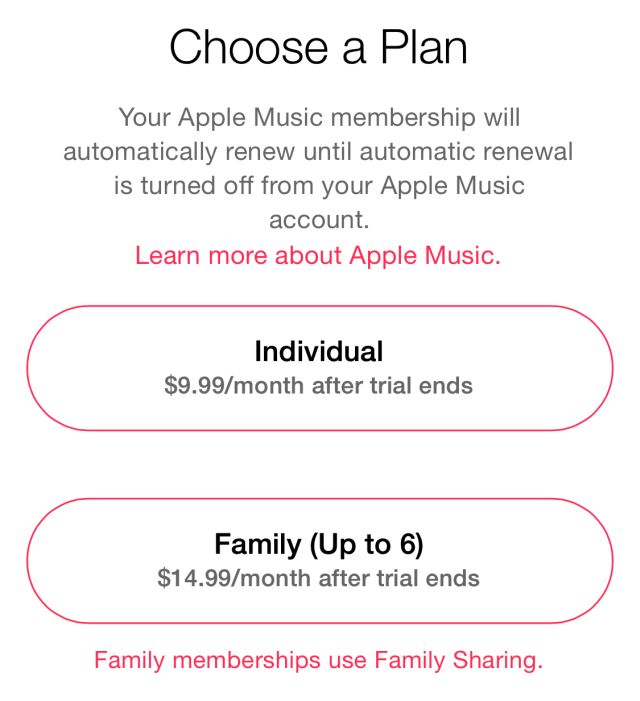 Apple Music subscription options.