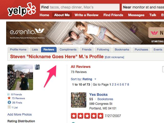 Nickname on Yelp