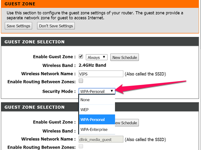 D-Link Security Mode menu
