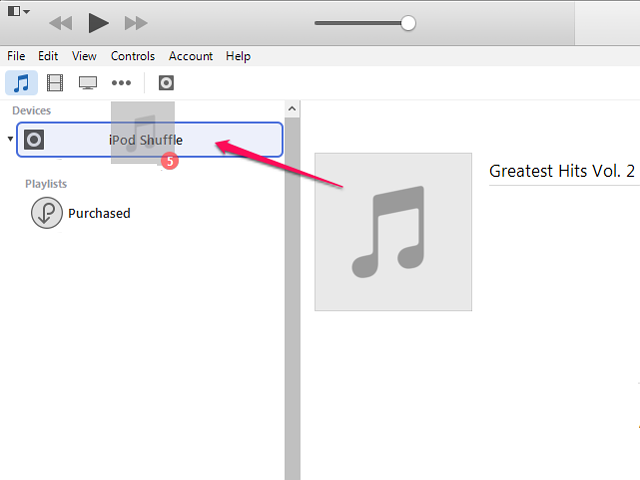 Drag the music down to the iPod in the Devices area.