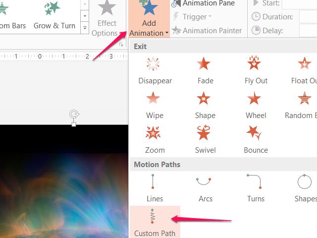 Add a custom path animation.