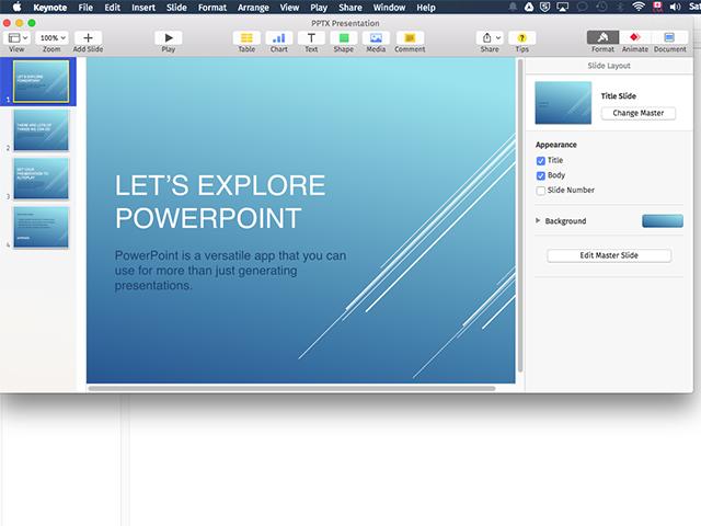 A PPTX file in Apple Keynote.