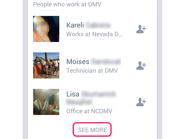 Facebook search results with See More link highlighted.