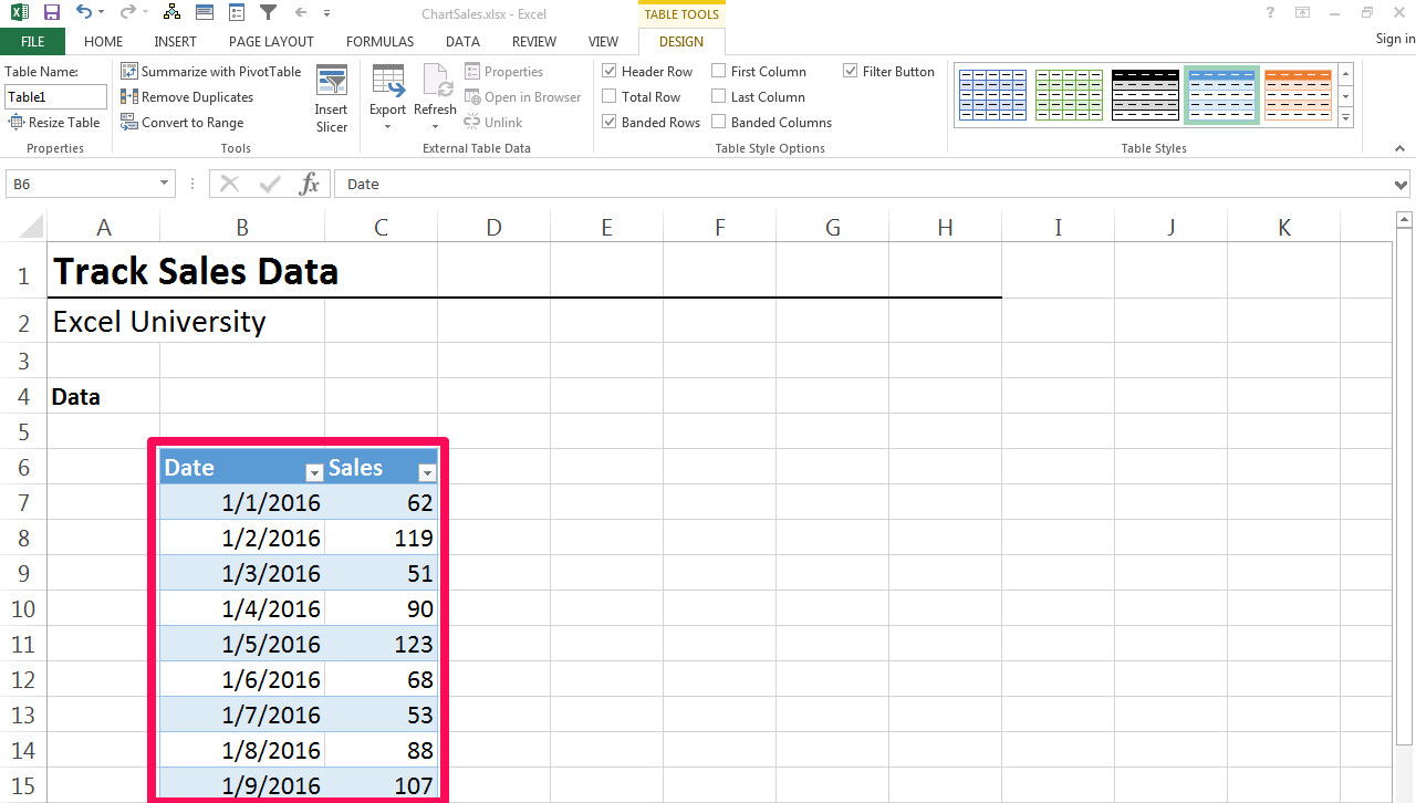 How to chart daily sales with excel it still works for Table design ribbon in excel