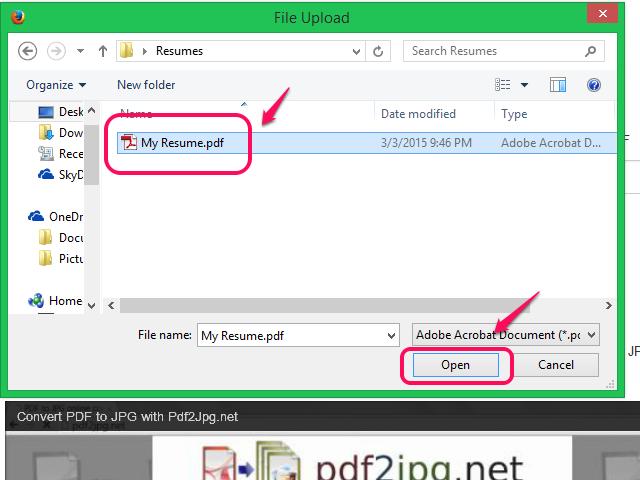 Choose a PDF file and click