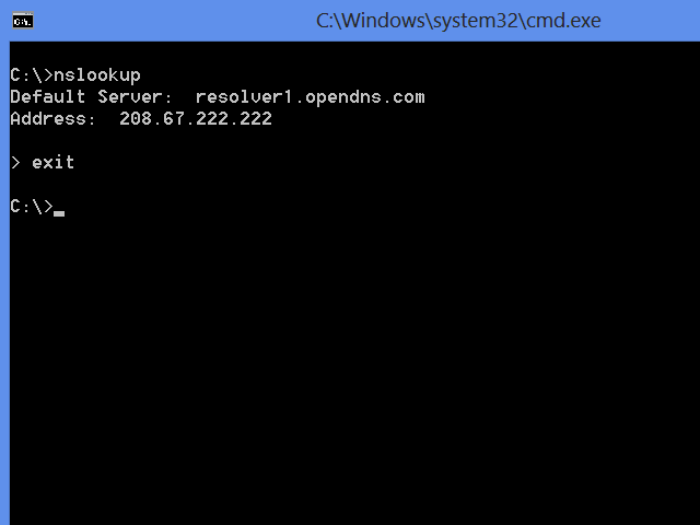 Nslookup using an OpenDNS server