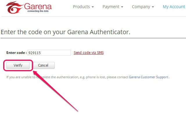 Enter the six-digit authentication code.