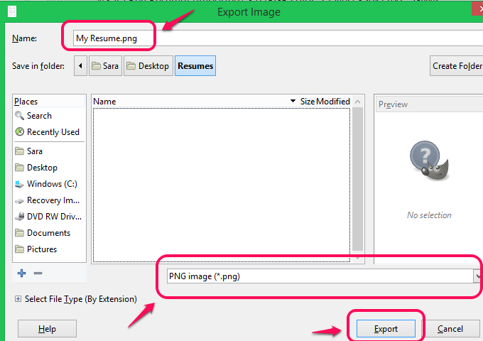 Export the file as an image.