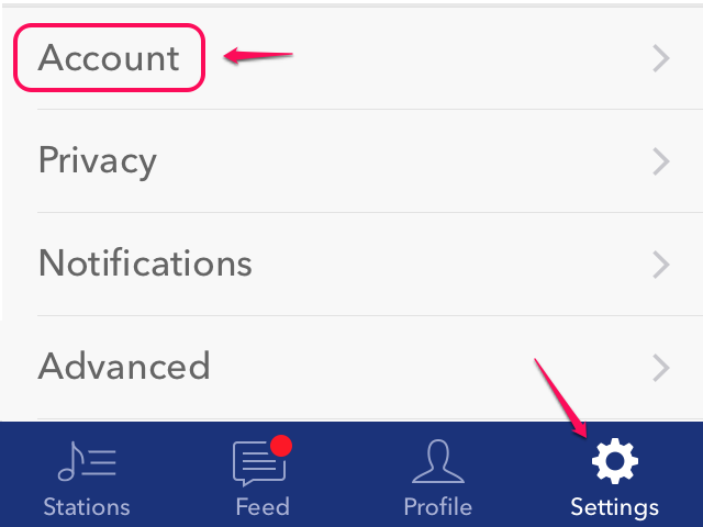 Open account settings