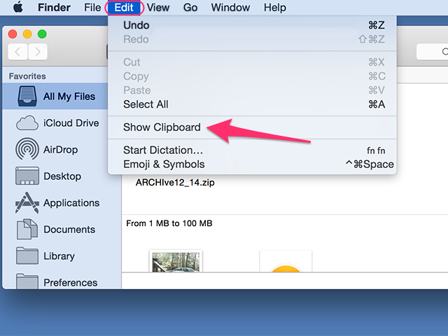 The clipboard is also accessible from the Edit menu.