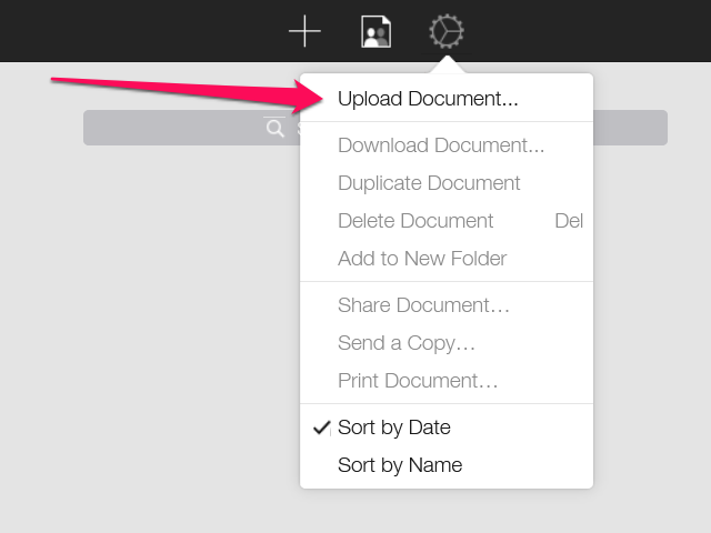 The Document Control menu toward the right side of the top toolbar, two icons to the right of the