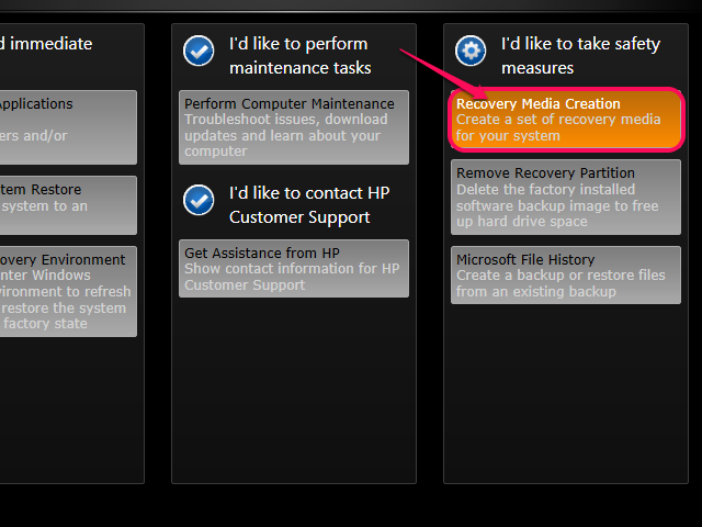 Select Create Recovery Media or Recovery Media Creation.