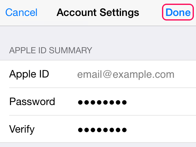 To keep the same email, only edit the Password and Verify lines.