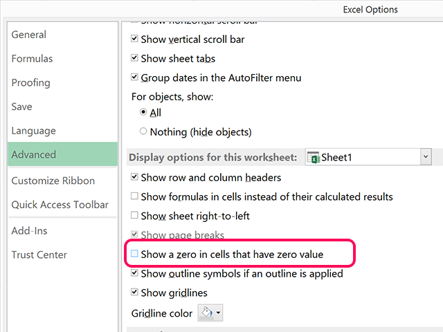 Disable the Show a Zero in Cells That Have Zero Value option.