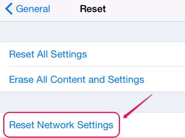 All the iOS Reset settings are on the Reset screen.