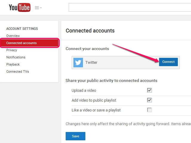 The Connected Accounts section of the Account Settings page.