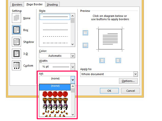 Choose from graphics or line art borders.
