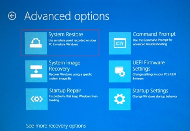 Selecting 'System Restore' will begin restoring your system from safe mode.