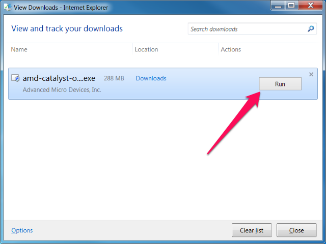 The ATI Catalyst Control Center install program name displays in the View Downloads window as