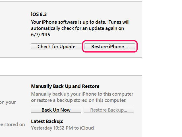 Restore from the iPhone page in iTunes if you can.