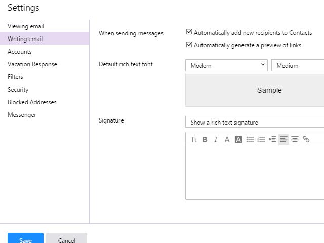 Writing email settings