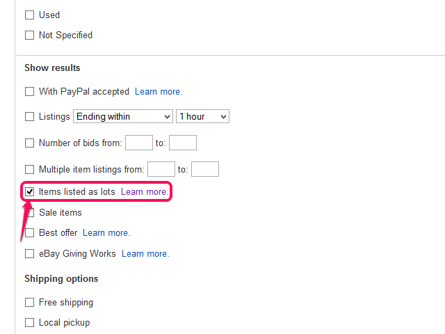 The advanced search form, with Items Listed as Lots checked.