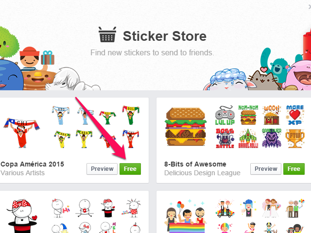 As of publication, all Facebook sticker packs are free.