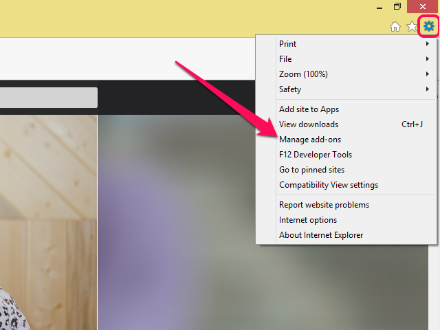 Internet Explorer menu open with Manage Add-ons highlighted.