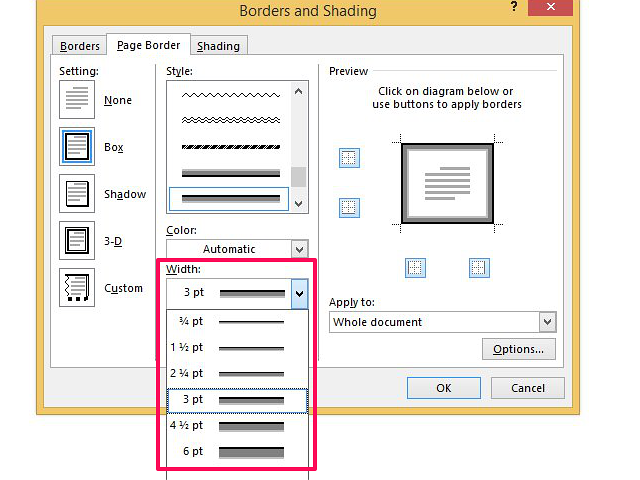 Increase or decrease point size to change border thickness.