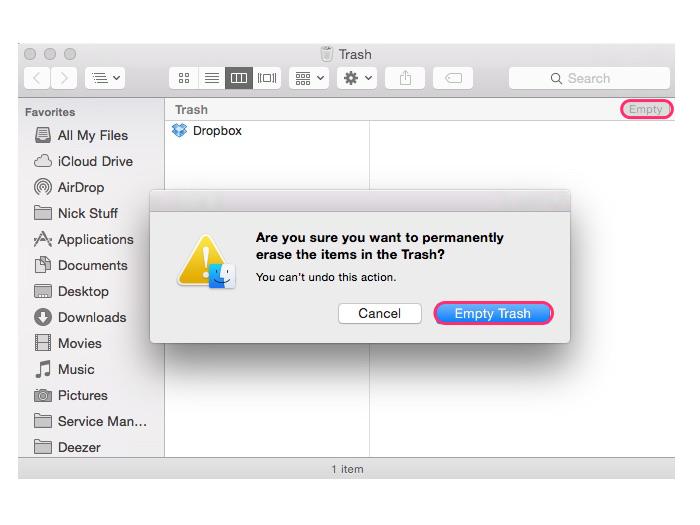 Deleting the Dropbox app