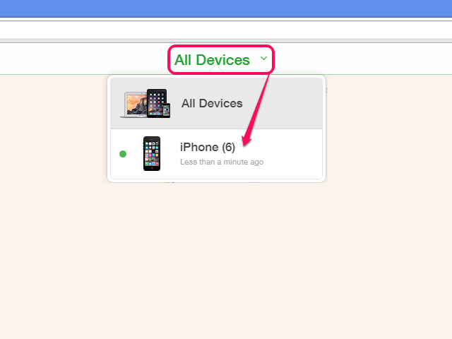 Find My iPhone device list