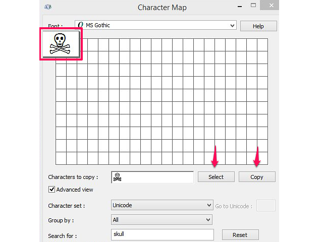 How to copy a character in Character Map