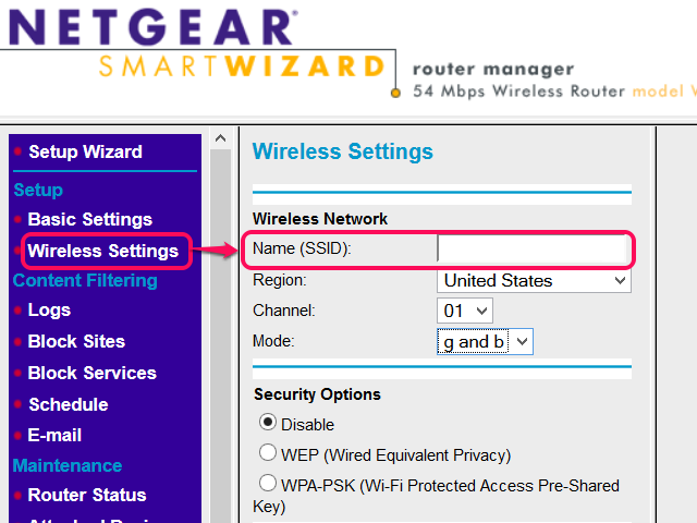 SSID on Netgear router