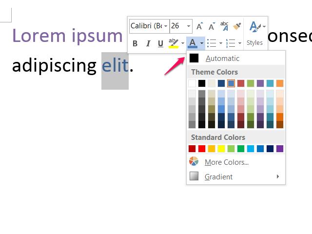 Pop-up font options