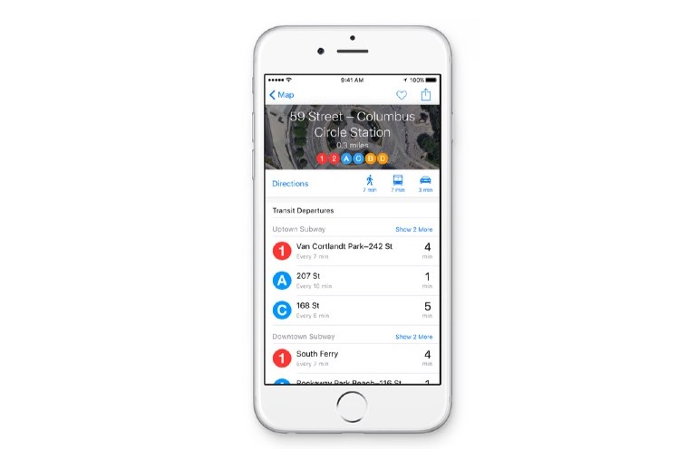 iOS 9 Transit directions