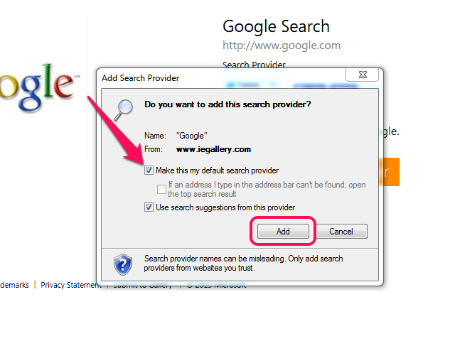Add Search Provider confirmation box, with Make This My Default Search Provider and Add button highlighted.