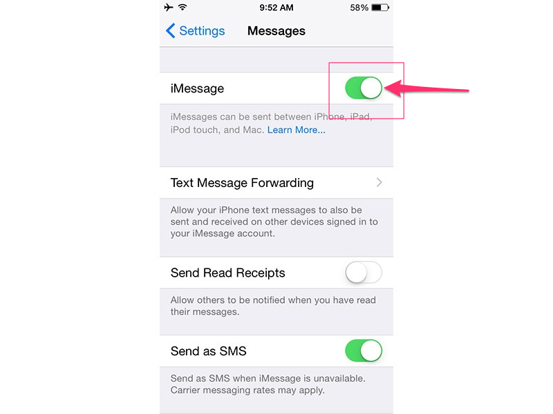 Toggle iMessage off and on.