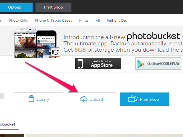 Upload button on the Photobucket account page.