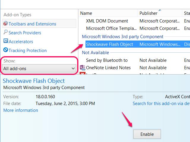 Internet Explorer add-ons window.
