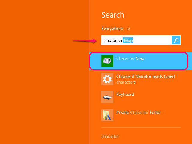 Open Character Map from the search menu.