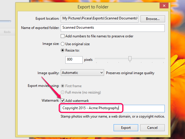 Enter your text watermark and click Export.