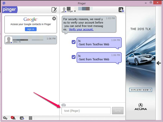 Send Text on Desktop