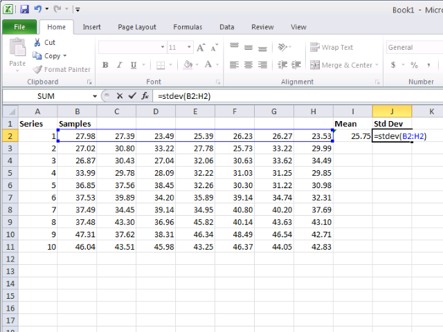 The Excel STDEV() formula calculates the standard deviation.