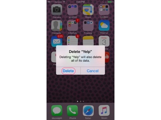 Tap delete button