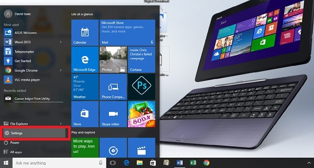 Select 'settings' on the start up menu in Windows 10.