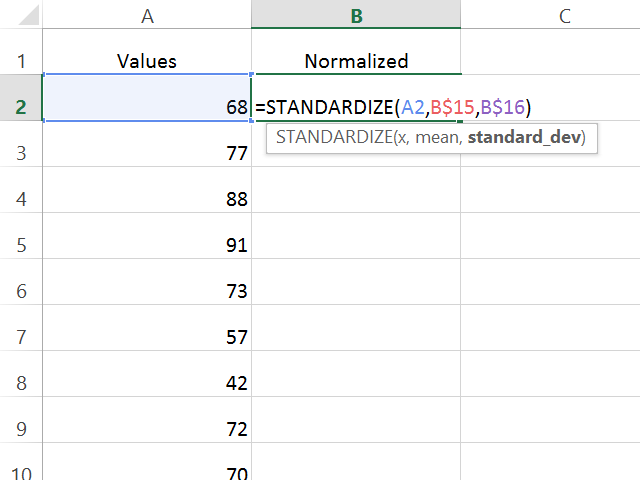 Calculate the normalized value for the first number in the set.